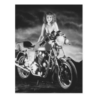 Classic Pinup Classic Motorcycle Postcard