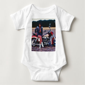 Classic Pinup Girl On A Motorcycle Baby Bodysuit