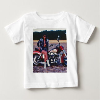 Classic Pinup Girl On A Motorcycle Baby T-Shirt