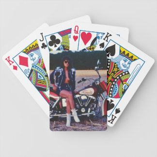 Classic Pinup Girl On A Motorcycle Bicycle Playing Cards