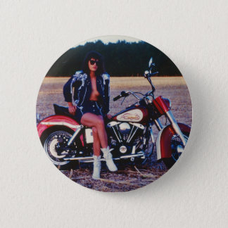 Classic Pinup Girl On A Motorcycle Button