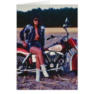 Classic Pinup Girl On A Motorcycle Card