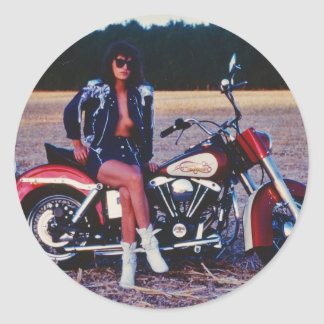 Classic Pinup Girl On A Motorcycle Classic Round Sticker