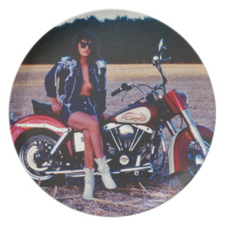 Classic Pinup Girl On A Motorcycle Dinner Plate