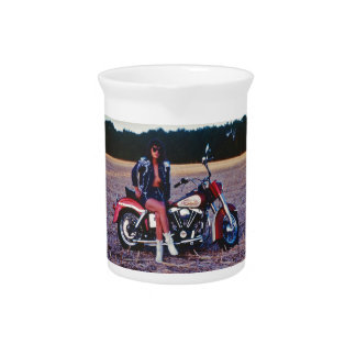 Classic Pinup Girl On A Motorcycle Drink Pitcher