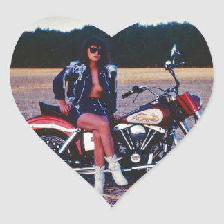 Classic Pinup Girl On A Motorcycle Heart Sticker