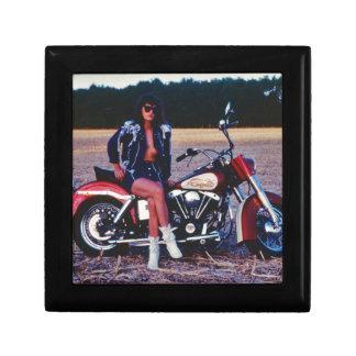 Classic Pinup Girl On A Motorcycle Keepsake Box
