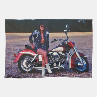 Classic Pinup Girl On A Motorcycle Kitchen Towel