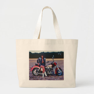Classic Pinup Girl On A Motorcycle Large Tote Bag