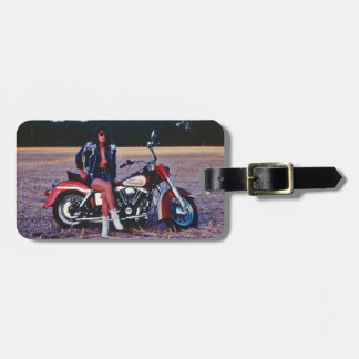 Classic Pinup Girl On A Motorcycle Luggage Tag