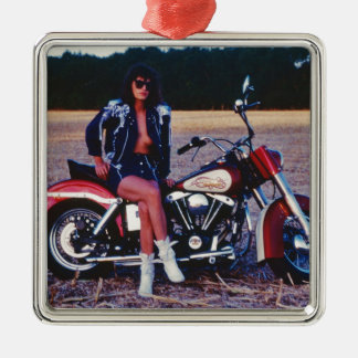 Classic Pinup Girl On A Motorcycle Metal Ornament