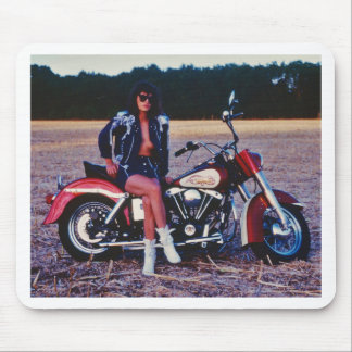 Classic Pinup Girl On A Motorcycle Mouse Pad