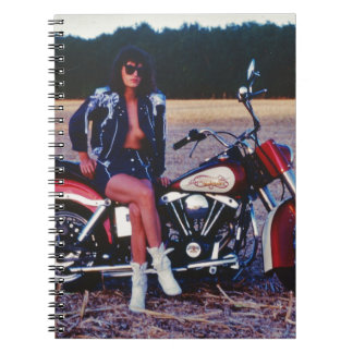 Classic Pinup Girl On A Motorcycle Notebook