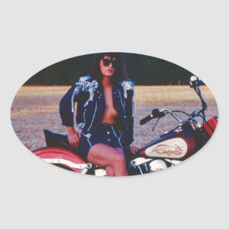 Classic Pinup Girl On A Motorcycle Oval Sticker