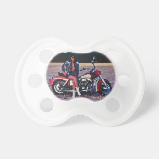 Classic Pinup Girl On A Motorcycle Pacifier