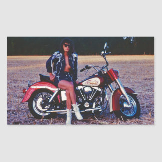 Classic Pinup Girl On A Motorcycle Rectangular Sticker