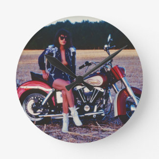Classic Pinup Girl On A Motorcycle Round Clock
