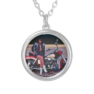 Classic Pinup Girl On A Motorcycle Silver Plated Necklace