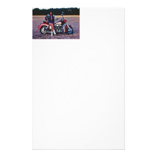 Classic Pinup Girl On A Motorcycle Stationery
