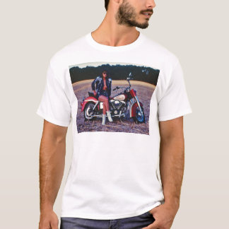Classic Pinup Girl On A Motorcycle T-Shirt
