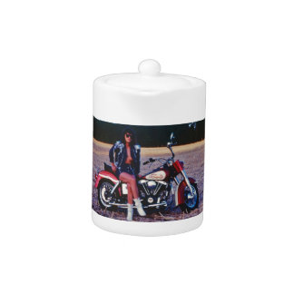 Classic Pinup Girl On A Motorcycle Teapot