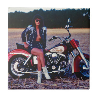 Classic Pinup Girl On A Motorcycle Ceramic Tiles
