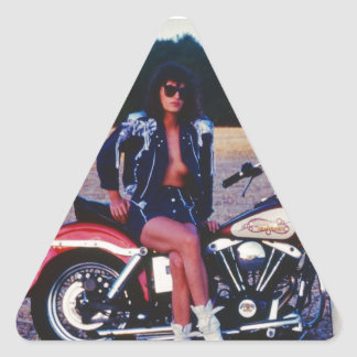 Classic Pinup Girl On A Motorcycle Triangle Sticker
