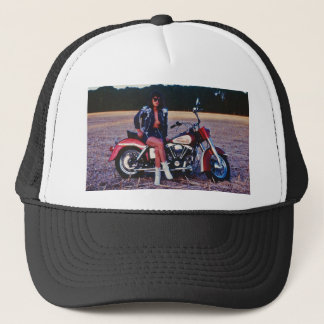Classic Pinup Girl On A Motorcycle Trucker Hat