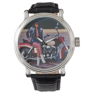 Classic Pinup Girl On A Motorcycle Watch