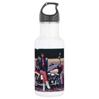 Classic Pinup Girl On A Motorcycle Water Bottle