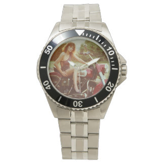 Classic Pinup Girl On A Motorcycle Wristwatch