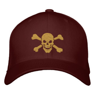 Classic Pirate Crossbones Golden Skull Embroidered Baseball Hat
