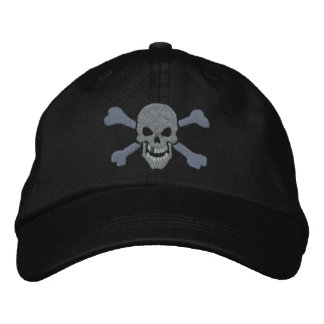 Classic Pirate Crossbones Silver Skull Embroidered Hats