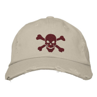 Classic Pirate Crossbones Skull in Burgundy Red Embroidered Baseball Cap