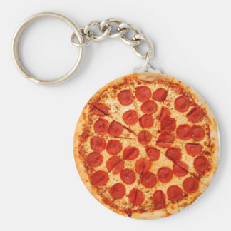 classic pizza lover basic round button keychain