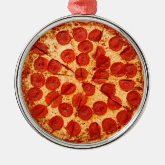 classic pizza lover round metal christmas ornament