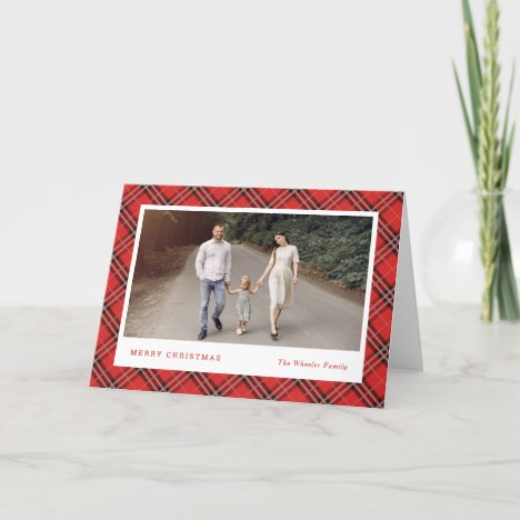 Classic Plaid Editable Color Holiday Cards