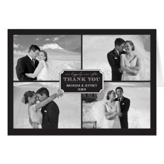 Classic Plate Wedding Thank You Photo Collage Card