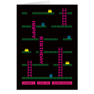 Classic Platform Computer Game Birthday Card