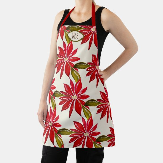 Classic Poinsettia Christmas Red Green Initials Apron