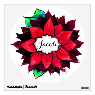 CLASSIC POINSETTIA in RED Wall Decal