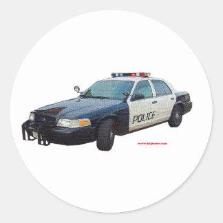 Classic_Police_Car_Black_White Classic Round Sticker
