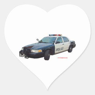 Classic_Police_Car_Black_White Heart Sticker