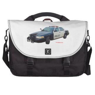 Classic_Police_Car_Black_White Laptop Messenger Bag