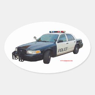 Classic_Police_Car_Black_White Oval Sticker
