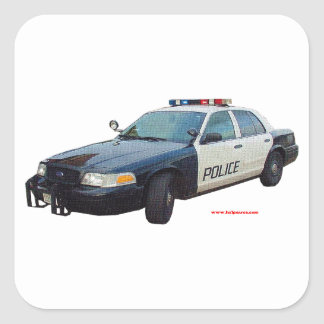 Classic_Police_Car_Black_White Square Sticker