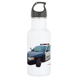 Classic_Police_Car_Black_White Stainless Steel Water Bottle