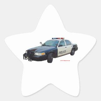 Classic_Police_Car_Black_White Star Sticker