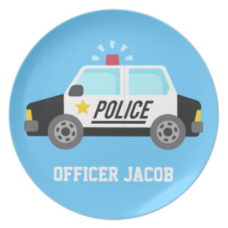 Classic Police Car with Siren For Boys Melamine Plate