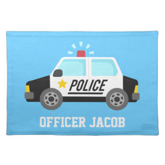 Classic Police Car with Siren For Boys Placemat